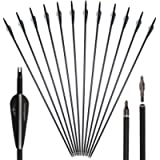 Huntingdoor 12Pcs 30inch Archery Carbon Arrows Spine 550 Hunting Targeting Arrows with Replaceable Broadhead Nock…