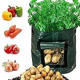 Huston Lowell Patata Grow Borse aerazione Tessuto Pentole Borse Piantapatate con patta per coltivare ortaggi,patate, carote e cipolla 2 Pack 7 Galloni e 1 Pack 10 Gallone
