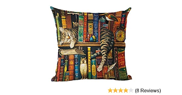 Bookshelf sleeping cat lkw1012 Decorative Cotton Linen Blend Throw Pillow Cover Square Pillow Case Cushion Cover 18 x 18 Inches Griffith.MJ