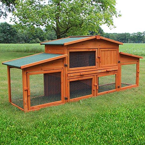 Zooprimus Kaninchenstall 43 Hasenkäfig - KÖNIGSSTALL XXL - Stall für Außenbereich (für Kleintiere: Hasen, Kaninchen, Meerschweinchen usw.)