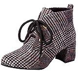 OYSOHE Mode Stiefel Damen Plaid Tuch Schuhe Spitz Rutschfeste Schnürung Dicke Ferse Stiefel Schuhe(Grau,36 EU)