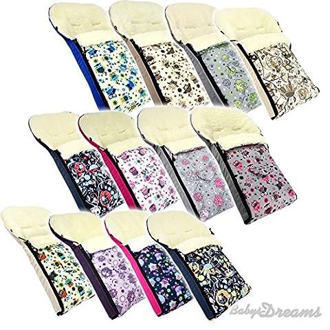 Babys-Dreams Winterfußsack EULEN 90cm oder 108cm für Kinderwagen Lammwolle Lamm Wolle NEU Wintersack Wolle Fußsack (90cm,