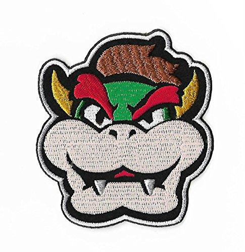 Bowser Gesicht Patch gestickt Eisen auf Abzeichen Aufnäher Kostüm Cosplay Mario Kart/SNES/Mario World/Super Mario Brothers/Mario ()