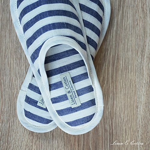 Linen & Cotton Chaussons de Bain de Luxe Hommes/Femmes - 100% Lin Blanc Lait/ Denim Bleu