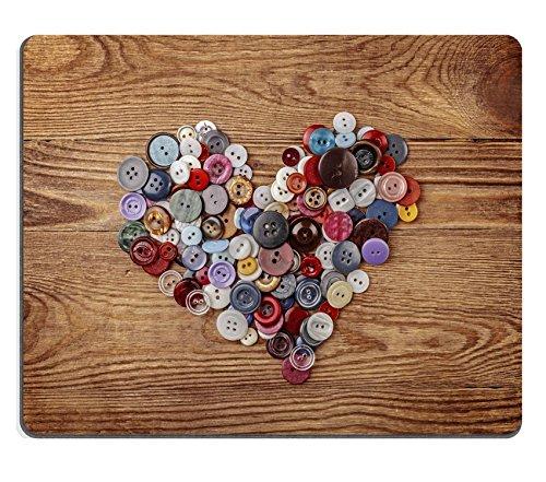 Liili Mauspad Naturkautschuk Mousepad Bild-ID: 26793127bunt Button Herz auf Holz Hintergrund (Holz Herzen Buttons)