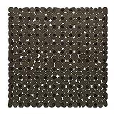 Bathsafe rutschfest Square, Pebbles Duschmatte extra große antibakteriell für Badteppich Suction Matte Rutschfeste Badewannen-Matte für die Dusche oder Badewanne, 54x 54cm Schwarz