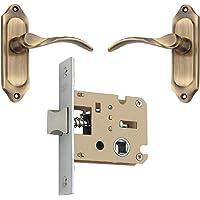 Spider Solid Brass Baby Latch Keyless Lock Complete Set with Antique Brass Finish [ FB55BAB + KBL ] (Bathroom & Bedroom Lock),