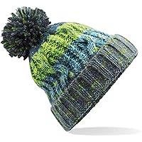 ASVP Shop Corkscrew Cable Knitted Bobble Hat Plain Boys Girls Beanie Warm Winter Pom Wooly Cap