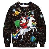 URVIP Unisex Weihnachtspullover Strickpullover 3D Druck Herren Damen Pullover Halloween Weihnachten Hoodies Jumper Ugly Sweater Weihnachtsmann Einhorn BFT-040 L