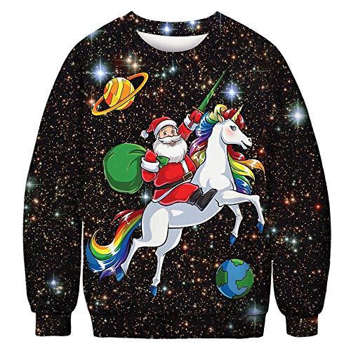 URVIP Unisex Weihnachtspullover Strickpullover 3D Druck Herren Damen Pullover Halloween Weihnachten Hoodies Jumper Ugly Sweater Weihnachtsmann Einhorn BFT-040 ()