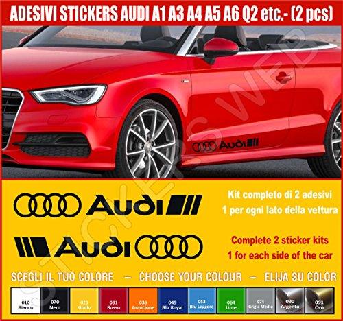 Kit adesivi stickers AUDI A1 A3 A4 A5 A6 Q2 ecc. -2 adesivi tuning auto- SCEGLI SUBITO COLORE- car kit n.2 Cod.0502 (Nero cod. 070)