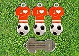 Fußball Schlüsselanhänger at mit Einkaufswagen-Chip, 3 Stück aus Edelstahl mit Schlüsselschutz