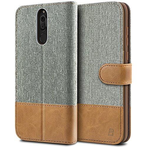BEZ® Hülle für Huawei Mate 10 Lite Hülle, Handyhülle Kompatibel für Huawei Mate 10 Lite, Handytasche Schutzhülle Tasche [Stoff und PU Leder] mit Kreditkartenhaltern, Grau