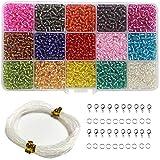 Ewparts 3mm Mini cuentas de vidrio para niños que hacen joyería, pulseras, collares, llaveros y kit de fabricación de joyas para niños (Translúcido)