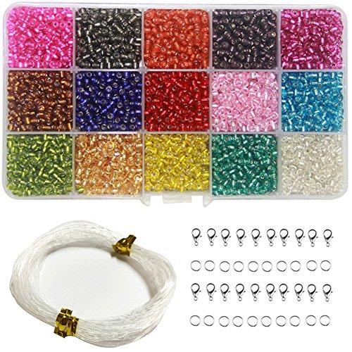 Ewparts 3mm Mini Glasperlen für Kinder Schmuck machen, Armbänder, Halsketten, Schlüsselanhänger und Kinder Schmuck machen Kit (Transluzent)