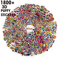 BeYumi 58 Different Sheets Kids Stickers (1800+count), 3D Puffy Stickers, Craft Scrapbooking for Kids, Including Animals, Cars, Trucks, Airplane, Food, Letters, Flowers, Pets and Tons More!