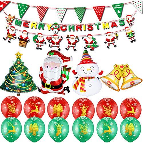 Towinle Weihnachtsdekoration Schneemann Aluminiumfolie Ballon Set Weihnachtsmann Weihnachtsbaum Merry Christmas Party Dekoration (Weihnachtsdekoration)