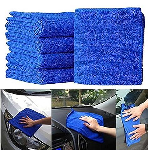 Hunpta NEUF pratique 10pcs Bleu doux absorbant Chiffon de lavage de voiture auto Care Serviettes de nettoyage en microfibre, bleu, 34*20*17CM