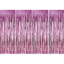 4 Pack Foil Curtains Metallic Fringe Curtains Shimmer Curtain for Birthday Wedding Party Christmas Decorations