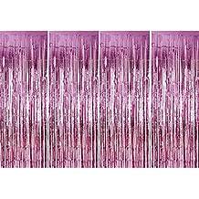 4 Pack Fólia függönyök Fémes Fringe függönyök Shimmer függöny születésnapi esküvői karácsonyi díszek (rózsaszín)