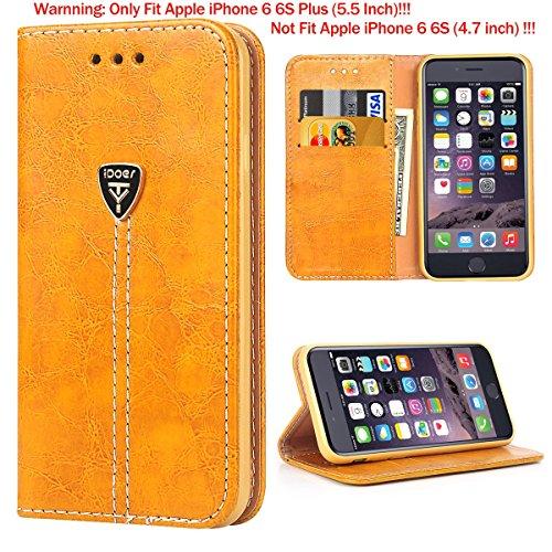 iPhone 6 Plus Hülle,Hochwertig handyhülle iPhone 6 Plus mit klappe tasche schutzhülle Handys Schutz Hülle PU Leder magnet handytasche bookstyle Flip Case für Apple iPhone 6 6S Plus 5.5 Zoll mit Ständer - Gelb