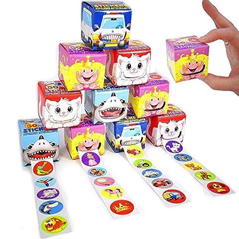 German Trendseller® - 50 sticker en rouleau┃sticker box┃ boîte d'autocollants┃l'anniversaire d'enfant┃ petit