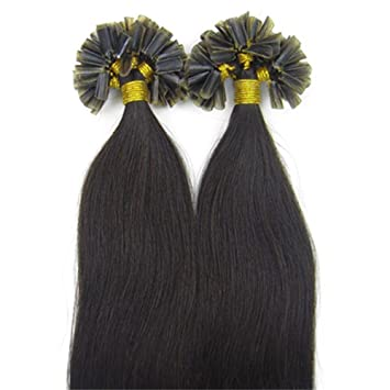 Yotty Double Drawn Remy Human Hair Extensions Pre Bonded Keratin U Tip Nail 1g S 18Inch50S 1B Natural Black Amazoncouk Beauty