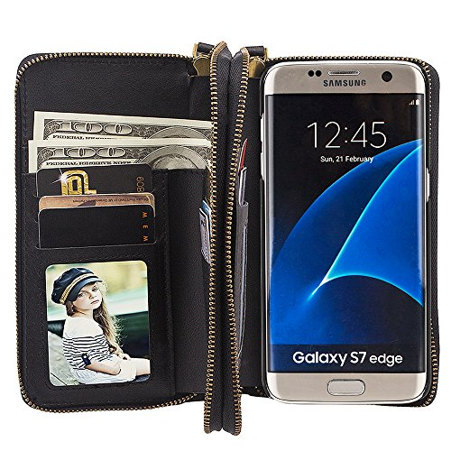 """Preisvergleich Produktbild Samsung Galaxy S7 Edge 5.5"""" Leder Hülle Flip Case Handytasche und Brieftasche mit Standfunktion Kredit Karten Fach mit Unsichtbarem Magnet, Schwarz"""