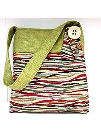 f706263f44 Borsa a spalla con tessuto a onde colorate e gioco di fiocchi e bottoni