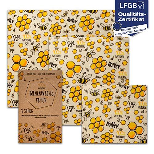 vanHeyden | 3X | 2.Generation Bienenwachstücher wiederverwendbar | Wachspapier für Lebensmittel mit EU Zulassung | Zero Waste Bees Wraps, Beeswax wrap (Premium XXL) (Wrap Papier Lagerung)