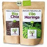 Naturschätzchen Bio Chia Samen (500 Gramm) + Bio Moringa (250 Gramm) in geprüfter Bio-Qualität (DE-ÖKO-22) kaufen!