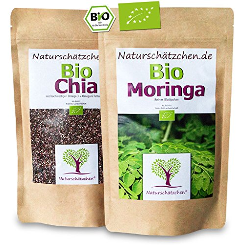 Sparset 1x Bio Chia Samen (500g) + 1x Bio Moringa (250g) in geprüfter Bio-Qualität (DE-ÖKO-22)