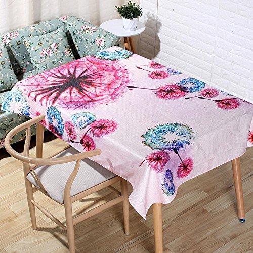 JIAAE Méditerranéen Style Lin Naturel nappes 3D Digital Impression Magenta Fleur Cartoon Table Tissu décoration rectangulaire Serviette de Couverture, 60 * 60cm