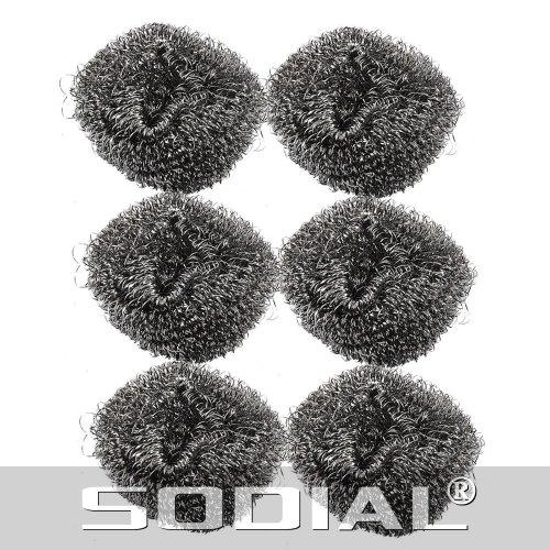 sodial-r-6-pz-paglietta-di-ferro-21-diametro-filo-di-acciaio-inossidabile-spugna-metallo-pentola