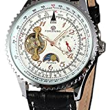 Casual Calendario Reloj de pulsera Fase Lunar Tourbillon macho automático reloj mecánico