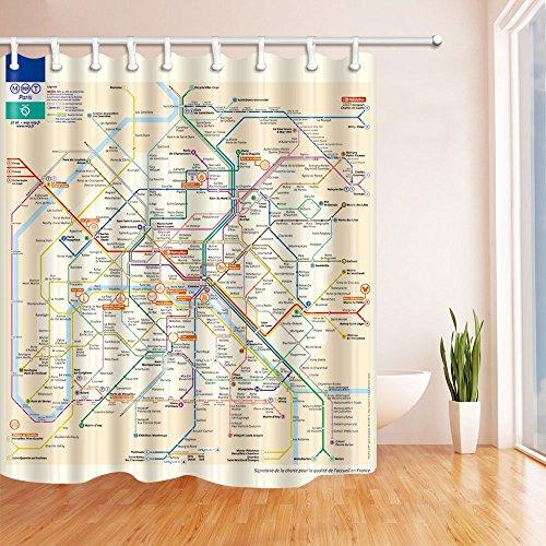 nyngei 3D Digital Druck City Decor Frankreich Paris Subway Duschvorhang Schimmelresistent Stoff Badezimmer Dekoration Bad Vorhänge Haken enthalten 179,8x 179,8cm - Druck-vorhang Runde Rod
