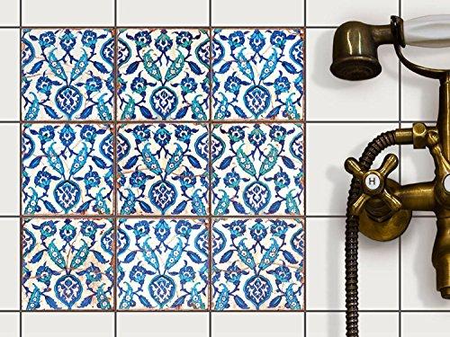 Dekor-Fliesen Fliesenaufkleber - CREATISTO Fliesensticker | Fliesen überkleben Aufkleber Folie Sticker für Badfliesen - Küche Deko Badezimmer-gestaltung | 10x10 cm - Design Hamam Vibes - 9 Stück
