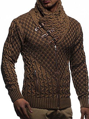 LEIF NELSON Herren Jacke Pullover Strickjacke Hoodie Sweatjacke Freizeitjacke Winterjacke Zipper Sweatshirt LN5340; Gr_¤e S, Camel-Braun