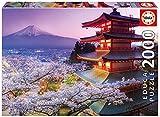 Amoureux du Japon, ce puzzle est fait pour vous ! La photo a été prise dans le sanctuaire Arakura Sengen à Fujiyoshida. Au premier plan, nous découvrons la superbe pagode Chureio. Ce Mémorial de la Paix construit en 1963 est entouré de cerisiers en f...
