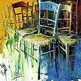 1art1 42050 Voka - Bunte Stühle II Poster Kunstdruck 70 x 70 cm