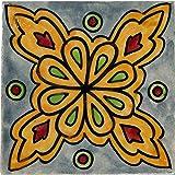 4er SET Marokkanische Fliesen Wandfliesen 10cm Groß handbemalt | Orientalische Handgemachte Fliese aus Keramik | Dekofliesen für die Wand im Badezimmer Küche oder als Untersetzer für Gläser - 8