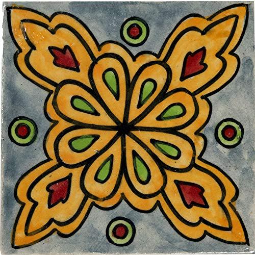 n Wandfliesen 10cm Groß handbemalt | Orientalische Handgemachte Fliese aus Keramik | Dekofliesen für die Wand im Badezimmer Küche oder als Untersetzer für Gläser - 8 ()