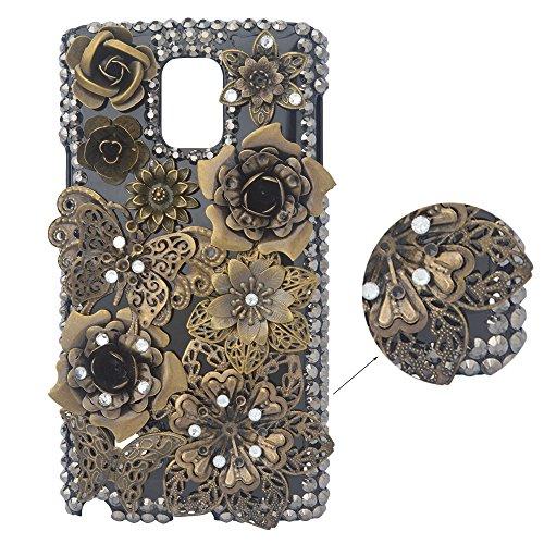 Preisvergleich Produktbild spritech (TM) 3D Handgefertigt Metallic Schwarz Back Case Schmetterling mit glänzend Sparkle Strass und Blumen Hard Caver Fall, Style-1, Samsung Galaxy Note 3