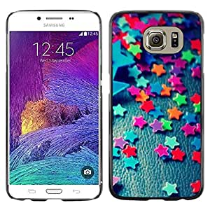 Omega Covers - Snap on Hard Back Case Cover Shell FOR Samsung Galaxy S6 - Teal Stars Candy Pattern Minimalist