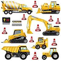 GET STICKING DÉCOR® CONSTRUCTION VEHICLES WALL STICKERS COLLECTION, StripedTruck Cons1, Glossy Vinyl, Multi Color. (Medium)