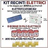 Kit für Weidezaun 2000 Meter - Solaranlage für Weidezaungerät + Weidezaun Litze + Isolatoren für Holzpfähle / eisenpfähle GEMI