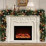 2.7m Tannengirlande Mit Lichtern Weihnachtsgirlande Beleuchtet 80er LED Lichterkette DIY bunt Weihnachten Girlande Weinachtsdeko (1 Stück)
