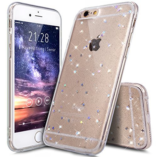 Kompatibel mit iPhone 6S Plus Hülle,iPhone 6 Plus Hülle,Shiny Glänzend Bling Glitzer Sterne Pailletten Diamant Durchsichtig TPU Silikon Handy Hülle Handyhülle Schutzhülle für iPhone 6S Plus,Klar A