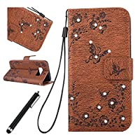 Samsung Galaxy S8 plus Bling Case,Samsung Galaxy S8 plus Leather Case,Beddouuk Luxury Elegant Bling Shiny Glitter Sparkling Rhinestone Diamond Floral Flower and Butterfly PU Leather Wallet Case Cover with Rope/Strap and Stand Feature Magnetic Closure for