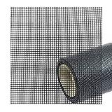 6,90€/m² Ersatz Fliegengitter Netz als Meterware oder Ersatzrolle - Draht Gaze für Balkon, Fenster Tür, Gewebe als Rolle in Schwarz - Anthrazit - Das Fensternetz Fiberglas-Gewebe 90 cm 70%